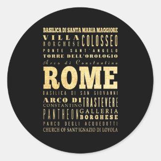 Ciudad de Roma del arte de la tipografía de Italia Pegatina Redonda