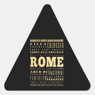 Ciudad de Roma del arte de la tipografía de Italia Pegatina Triangular