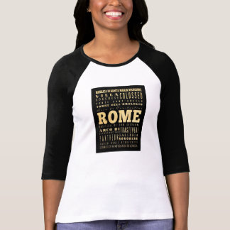 Ciudad de Roma del arte de la tipografía de Italia Remeras