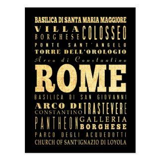 Ciudad de Roma del arte de la tipografía de Italia Tarjetas Postales
