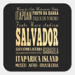 Ciudad de Salvador del arte de la tipografía del Pegatina Cuadrada