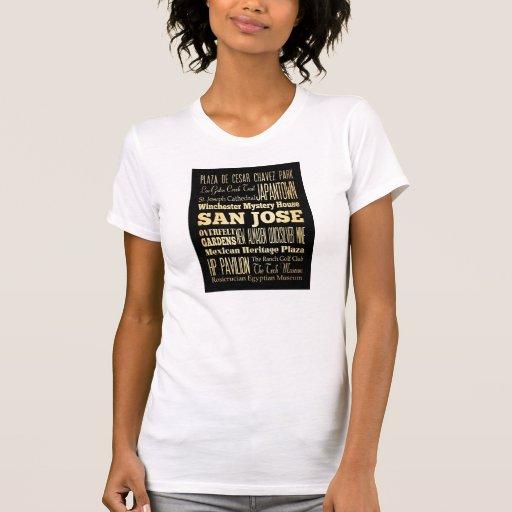 Ciudad de San Jose del arte de la tipografía del e Camisetas
