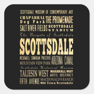 Ciudad de Scottdale del arte de la tipografía de Pegatina Cuadrada