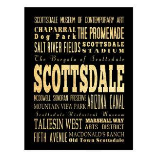 Ciudad de Scottsdale del arte de la tipografía de Postal