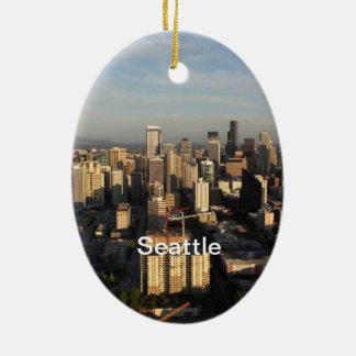 Ciudad de Seattle. Visión desde la torre de la Adorno Navideño Ovalado De Cerámica
