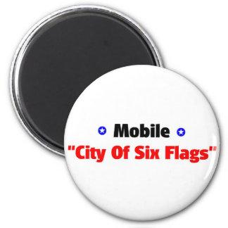 Ciudad de seis banderas imán redondo 5 cm