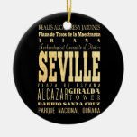 Ciudad de Sevilla del arte de la tipografía de Adorno Navideño Redondo De Cerámica