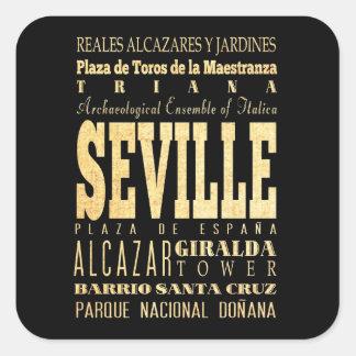 Ciudad de Sevilla del arte de la tipografía de Esp Pegatina