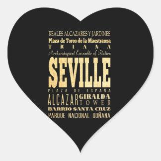 Ciudad de Sevilla del arte de la tipografía de Esp Calcomanía Corazón