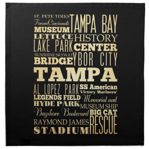 Ciudad de Tampa del arte de la tipografía del esta Servilleta