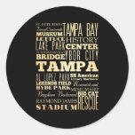 Ciudad de Tampa del arte de la tipografía del Pegatinas Redondas