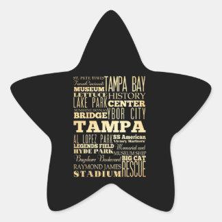Ciudad de Tampa del arte de la tipografía del Pegatina En Forma De Estrella