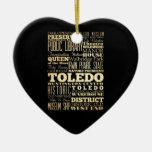 Ciudad de Toledo del arte de la tipografía del Adorno Navideño De Cerámica En Forma De Corazón
