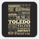 Ciudad de Toledo del arte de la tipografía del Calcomanía Cuadrada