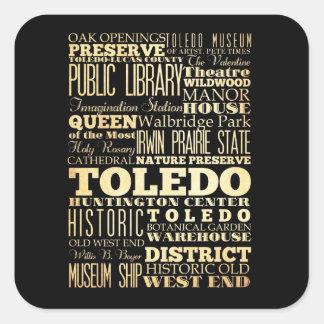 Ciudad de Toledo del arte de la tipografía del Pegatina Cuadrada