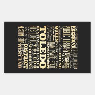 Ciudad de Toledo del arte de la tipografía del Pegatina Rectangular