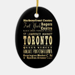 Ciudad de Toronto del arte de la tipografía de Adorno Navideño Ovalado De Cerámica