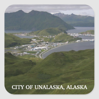 Ciudad de Unalaska, Alaska Pegatina Cuadrada