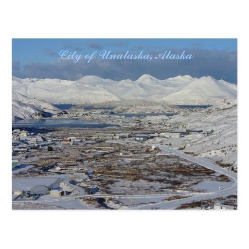 Ciudad de Unalaska en invierno, isla de Unalaska Tarjetas Postales