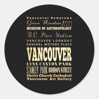 Ciudad de Vancouver del arte de la tipografía de Etiqueta Redonda