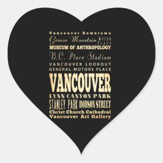 Ciudad de Vancouver del arte de la tipografía de Pegatina De Corazon Personalizadas