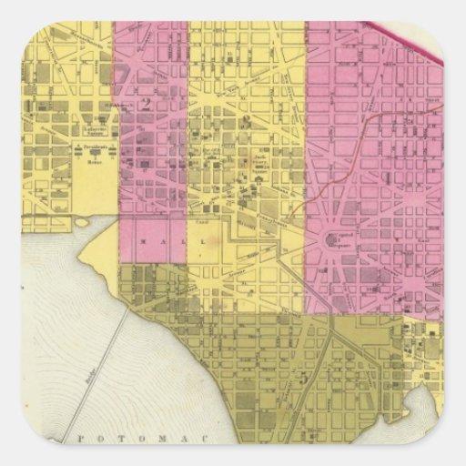 Ciudad de Washington 2 Calcomania Cuadrada Personalizada