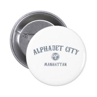 Ciudad del alfabeto pin redondo de 2 pulgadas