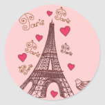 Ciudad del amor París Pegatina Redonda