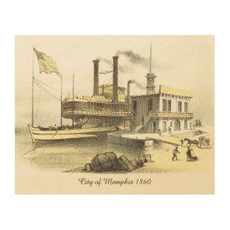Ciudad del barco de vapor de Mississippi de Cuadro De Madera