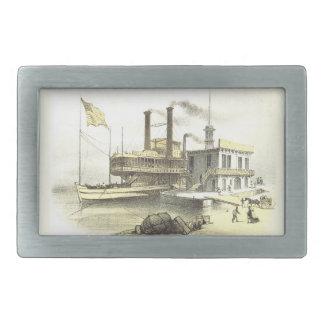 Ciudad del barco de vapor de Mississippi de Memphi Hebillas De Cinturon Rectangulares