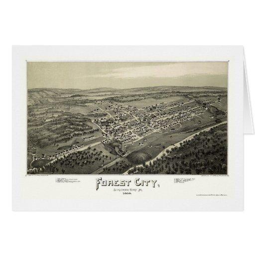 Ciudad del bosque, mapa panorámico del PA - 1889 Tarjeta
