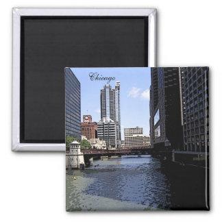 Ciudad del bosquejo de Chicago y del lago Michigan Imanes De Nevera