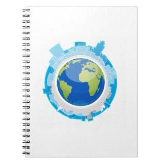 ciudad del diseño del globo alrededor de ella ecol libros de apuntes
