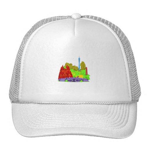 ciudad del guangzhon ningunos edificios del gráfic gorras