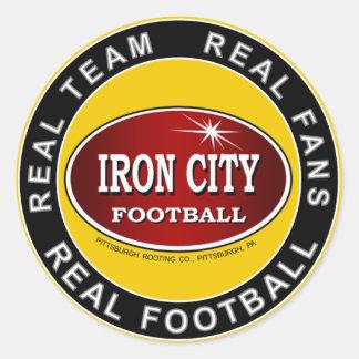 Ciudad del hierro - equipo real fans reales fútb etiqueta redonda