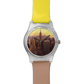 Ciudad del horizonte de Nueva York con el estado d Reloj