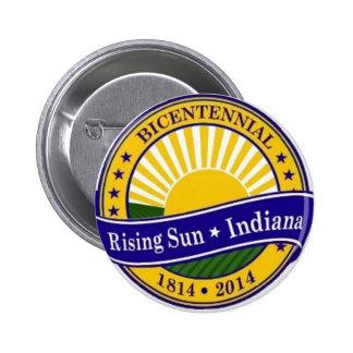 Ciudad del logotipo bicentenario de Indiana del so Pin Redondo De 2 Pulgadas