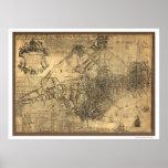 Ciudad del mapa de Boston - 1769 Poster