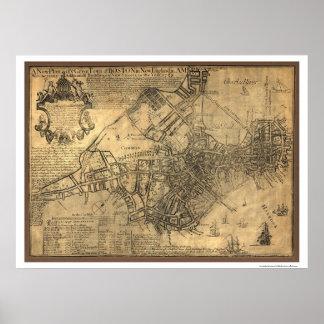 Ciudad del mapa de Boston - 1769 Póster
