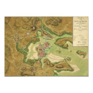 Ciudad del mapa de Boston por la página de Thomas Invitación 12,7 X 17,8 Cm