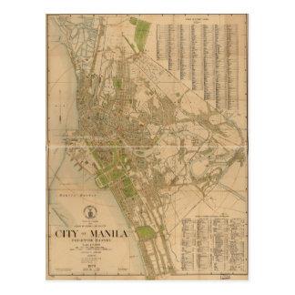 Ciudad del mapa de las islas filipinas de Manila Postal