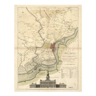 Ciudad del mapa de Philadelphia Pennsylvania Membretes Personalizados