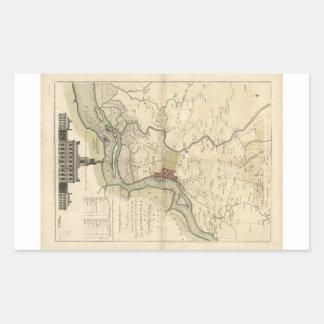 Ciudad del mapa de Philadelphia Pennsylvania Pegatina Rectangular