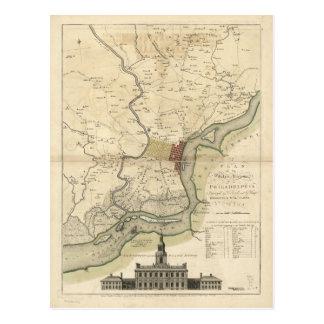 Ciudad del mapa de Philadelphia Pennsylvania Tarjetas Postales