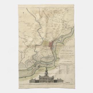 Ciudad del mapa de Philadelphia Pennsylvania Toalla De Cocina