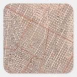 Ciudad del mapa del atlas de NY Calcomanía Cuadrada Personalizada
