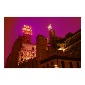 Ciudad del molino en la noche impresiones