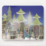 Ciudad del muñeco de nieve tapete de ratones