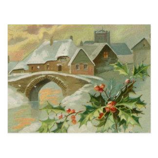 Ciudad del navidad del vintage con acebo tarjetas postales
