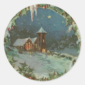 Ciudad del navidad del vintage con los niños pegatina redonda